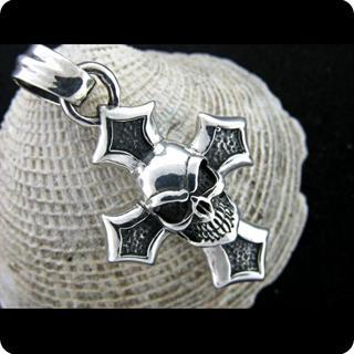Sterling Silver Pendant , Skull  Cross