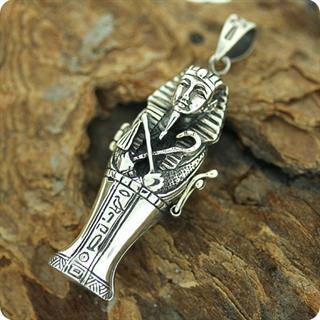 Egyptian Silver King Tutankhamen Locket ,Fortune, Pharaoh,Mummy