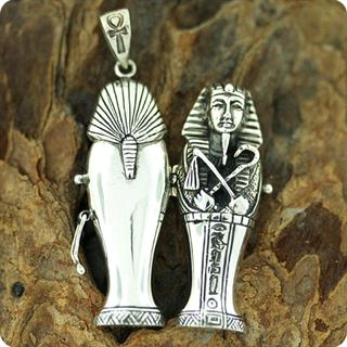 Egyptian Silver King Tutankhamen Locket ,Fortune, Pharaoh,Mummy