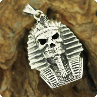Egyptian Silver Pharaoh Tut Skull,High Relief Pendant