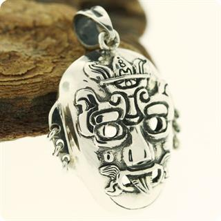 Unique Reproduction of Silver Mexico Maya Mask Pendant