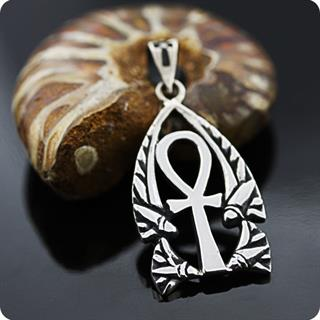 Egyptian Jewelry Silver Lotus Flower ANKH Amulet Pendant