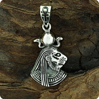 Egyptian Silver Lion Goddess Sekhmet portrait Pendant