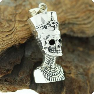 Egyptian Silver Skull Queen Nefertiti, Relief Pendant