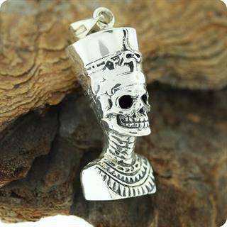 Egyptian Silver Skull Queen Nefertiti, Relief Pendant