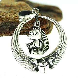 Egyptian Silver Royal Wadjet W/ Scarab Surround Bastet Pendant
