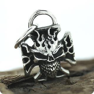 Sterling Silver Pendant, Skull of Hellfire- Ghost Rider