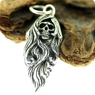 Sterling Silver Pendant, Hairy Ghost Skull