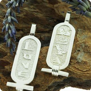 "A pair of Egyptian silver Double sides Cartouches"" Love says in  Hieroglyph & English"