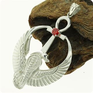 Egyptian Jewelry Cobra Ankh  w/ Red Heart Silver Pendant