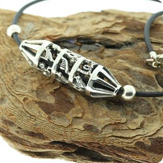 Egyptian Silver Hieroglyphics Cartouche Roller Necklace
