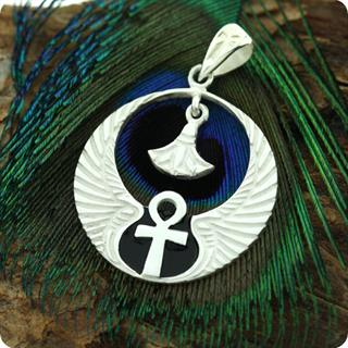 Egyptian Silver Pendant Winged Cobra W/ Lotus And Ankh