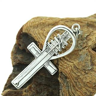 Egyptian Silver Jewelry Power of Ankh Symbol Pendant