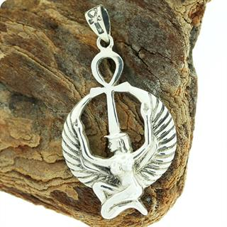 Egyptian Astrology Goddess Isis w/ Ankh 925 Silver Pendant