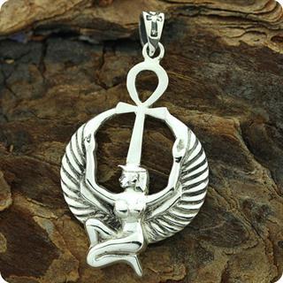 Egyptian Astrology Goddess Isis w/ Ankh 925 Silver Pendant