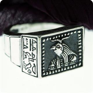 Vintage Egyptian the God of Sun, Amun Ra Silver Ring