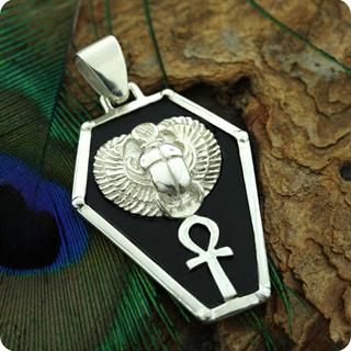 Egyptian Winged Scarab w/ Ankh Silver Shield Pendant