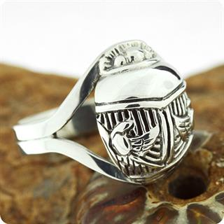Egyptian Scarab and Wadjet Silver Ring