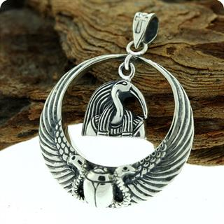 Egyptian Sterling Silver Royal Wadjet W/ Scarab Surround Thoth Penndant