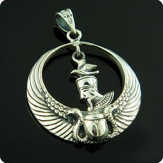 Egyptian Sterling Silver Royal Wadjet W/ Scarab Surround  Earth Geb Pendant