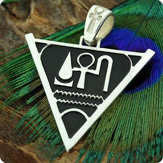 Egyptian Silver Jewelry Pyramid of Life, Prosperity, Health Pendant