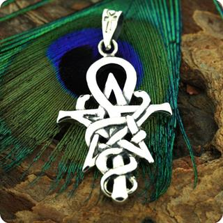 Egyptian Silver Jewelry Cobra, Serpent Ankh Pendant