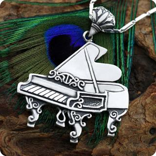 Antique Victoria Steinway piano style  Silver Pendent