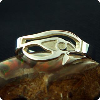 Egyptian Sterling Silver Right Eye of Horus Ring