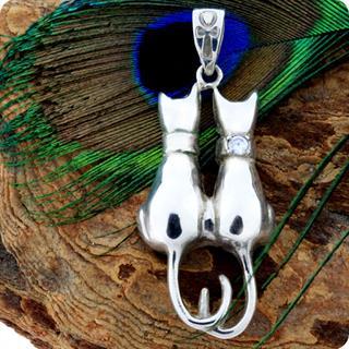 Egyptian Two Cats Goddess Bastet Silver Pendant