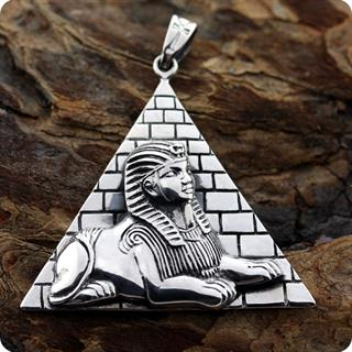 Egyptian Silver Pharaoh Tut Pyramid ,High Relief Pendant