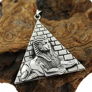 Egyptian Silver Pharaoh Tut Pyramid ,High Relief Pendant