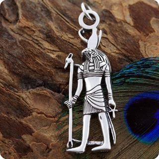 Egyptian Silver Jewelry Sky God Horus Figure Pendant