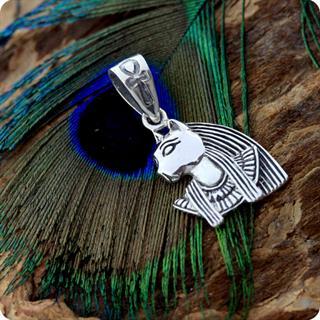 Egyptian Cat Goddess Bastet Charm Silver Pendant