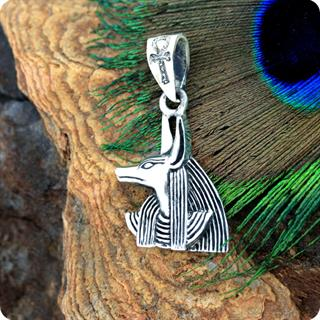 Egyptian Silver God Embalming and Dead Charm Anubis Pendant