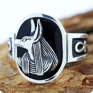Egyptian Silver Ring, Lord Of The Dead God Anubis