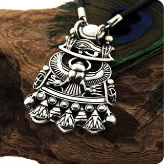 Egyptian Sterling Silver The Royal UDJAT Scarab Charm,Eye of Horus