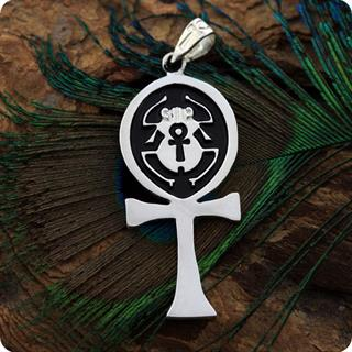 Egyptian Silver Jewelry Scarab of Ankh Symbol Pendant