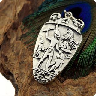 Egyptian Silver Jewelry Pharaoh Narmer Palette Smiting side Pendant