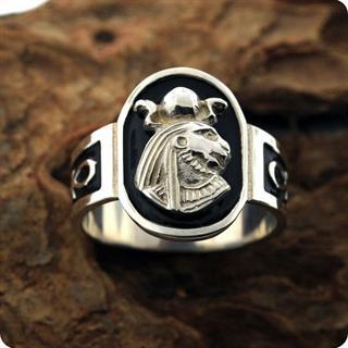 Egyptian Silver Astrology Lion Goddess Sekhmet S925 Ring