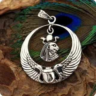 Egyptian Sterling Silver Royal Wadjet W/ Scarab Surround Lion Goddess Sekhmet Penndant