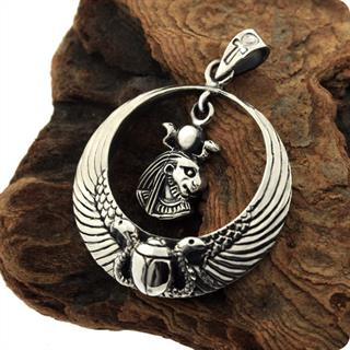 Egyptian Sterling Silver Royal Wadjet W/ Scarab Surround Lion Goddess Sekhmet Penndant