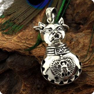 Egyptian Zodiac Silver Cat Goddess Bastet  locket Pendant II