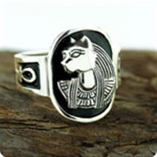 Egyptian Zodiac SIlver Jewelry Cat Goddess Bastet Ankh Ring