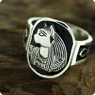 Egyptian Zodiac SIlver Jewelry Cat Goddess Bastet Ankh Ring