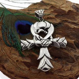 Sterling Silver Egyptian Goddess Serket  Ankh w/ Scorpion Inspired king pendant