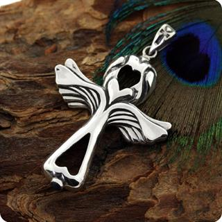 Sterling Silver Wings of Lover Ankh Lapis Pendant