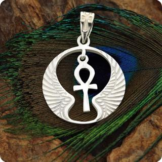 Egyptian Silver Winged Cobra W/ Lotus And Ankh Waject Pendant