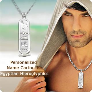 Double Sides Personalized Hieroglyphics Name Cartouche Sterling Silver