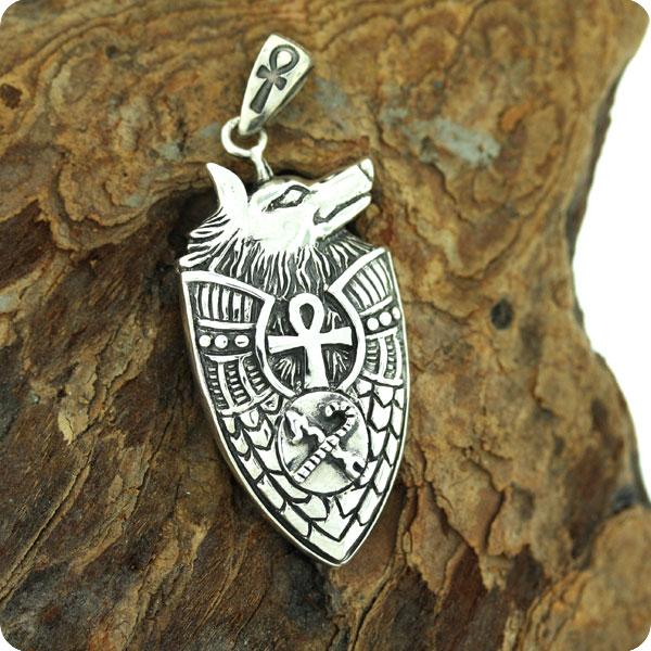 Mojoii egyptian jewelryanubisjackaldeath godegyptian zodiac ancient egyptian silver jewelry the shield of the god anubis pendant aloadofball Images