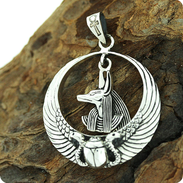 Egyptian Sterling Silver Royal Wadjet W/ Scarab Surround Anubis Penndant
